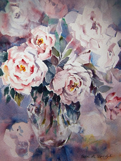 Woking Art Gallery - Flowers Collection - Roses in Watercolour - Painting by Horsell Woking Surrey Artist Sera Knight