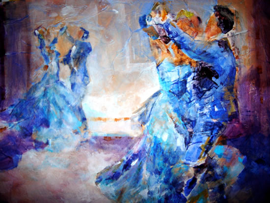 Swirling Ballroom Dancers - Dance Gallery of Art - Paintings by Sera Knight Artist - Horsell Woking Surrey England
