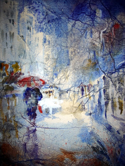 Art by Sera Knight - Surrey Artist - Rain Scene