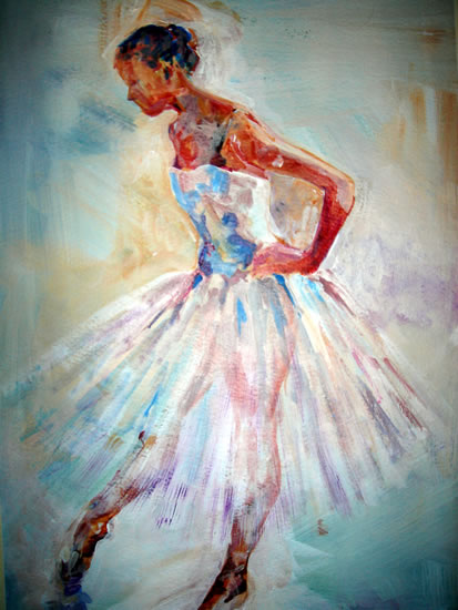 Ballerina Poised To Go - Ballet & Dance Collection of Paintings by Surrey Artist Sear Knight - Horsell Woking Surrey Engalnd UK